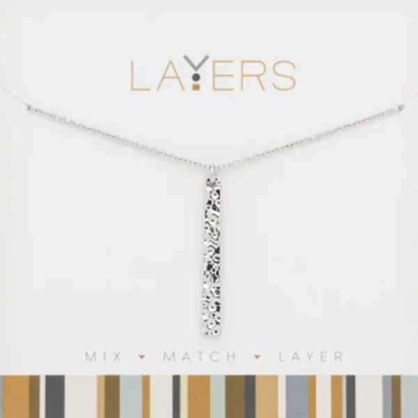 Layers Silver Hammered Single Bar Necklace 529S