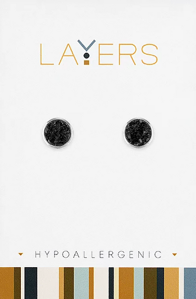 Layers Silver Druzy Black Stud Earrings 536S