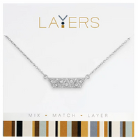 Layers Silver Stacked Triangles Necklace - 545S
