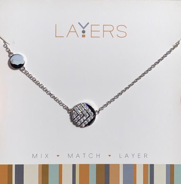Layers Silver Two Circles Necklace 561S