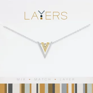 Layers Silver Two Toned Triangles Necklace 563S