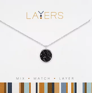 Layers Silver Circle Druzy Black Necklace 567S