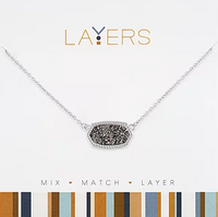 Layers Silver Pendant Charcoal Necklace 571S