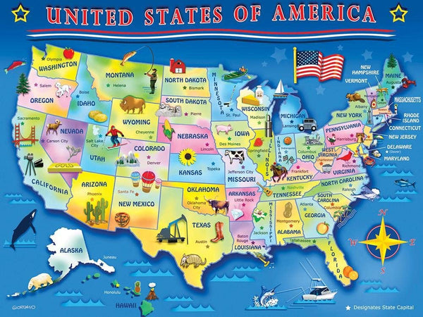 USA Map 60 Piece Puzzle