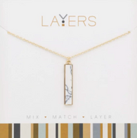 Layers Gold Gold Rectangle Granite Necklace - 87G