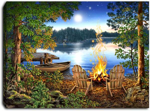 """Lakeside"" Lighted Mini Tabletop Canvas"