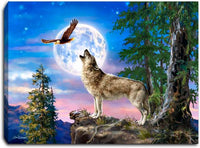 """Wolf Moon"" Lighted Mini Tabletop Canvas"