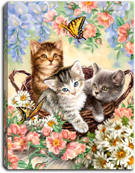 """Kittens in the Garden"" Lighted Mini Tabletop Canvas"