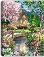 """Spring Chapel"" Lighted Mini Tabletop Canvas"