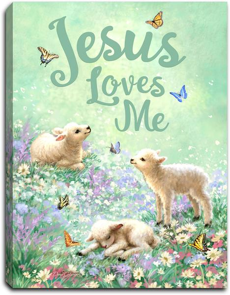 """Jesus Loves Me"" Lighted Mini Tabletop Canvas"