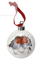 Worcester Wrendale Designs Holiday Bauble - Snuggled Together Robin