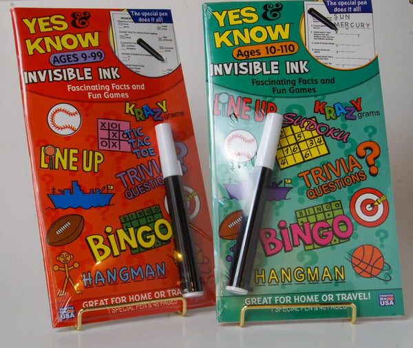 Yes & Know Invisible Ink Book Set of 2 Ages 9-99 and 10-110
