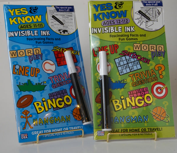 Yes & Know Invisible Ink Book Set of 2 Ages 11-111 and 12-112