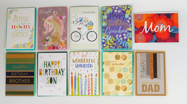 Family Birthday Card Selection