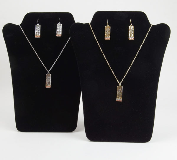 Two-Toned Tree of Life Necklace and Earring Set