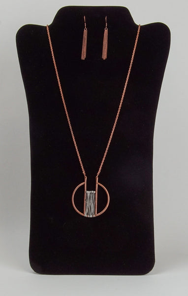 Two-Toned Wire Wrapped Necklace and Earring Set