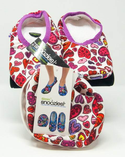 Snoozies Skinnies Slippers w/ Travel Pouch - Hearts