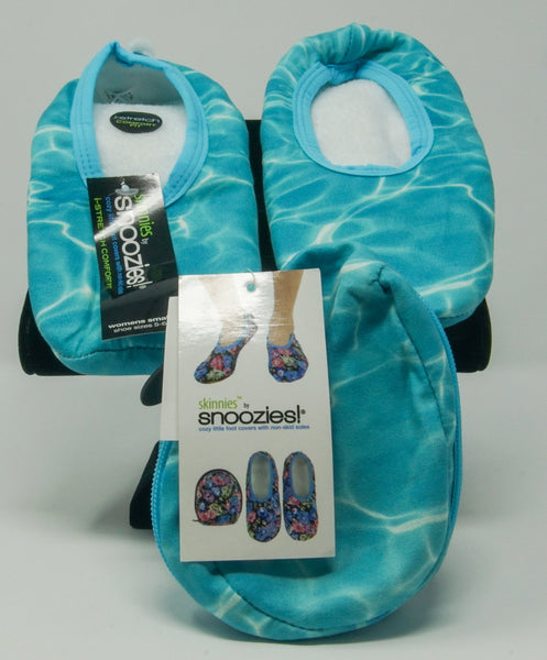 Snoozies Skinnies Slippers w/ Travel Pouch - Ocean