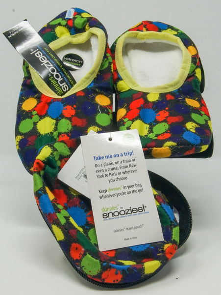 Snoozies Skinnies Slippers w/ Travel Pouch - Paint Splat