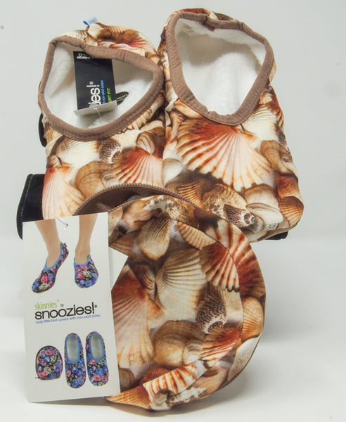 Snoozies Skinnies Slippers w/ Travel Pouch - Seashell