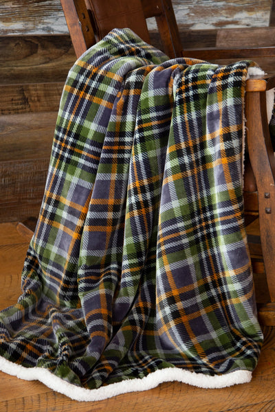 Grey Plaid Sherpa Throw Blanket