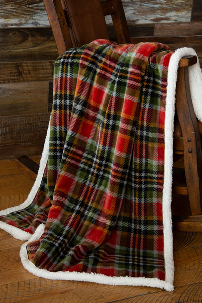 Rust & Sage Sherpa Throw Blanket
