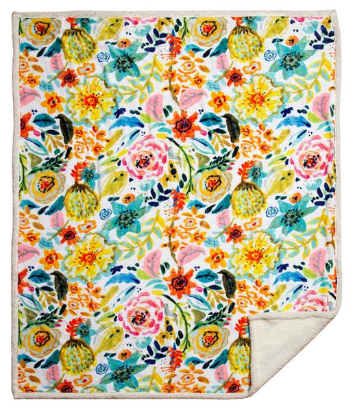 Field of Flowers Sherpa Throw Blanket