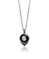 Moonglow Classic Necklace with Black Swarovski Crystal in Pewter