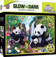 MasterPieces Hidden Images Glow in The Dark Jigsaw Puzzle, Shangri La, Panda Bears, Featuring Art by Steve Read, 550 Pieces