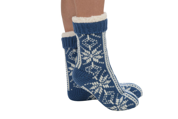 Women's Snoozies!® Sherpa Lined Snowflake Patterned Socks