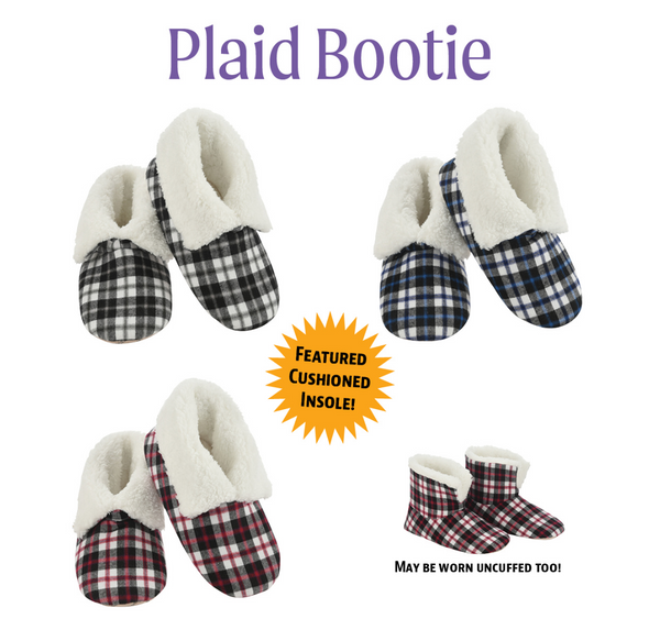 Snoozies Plaid Booties - Grey