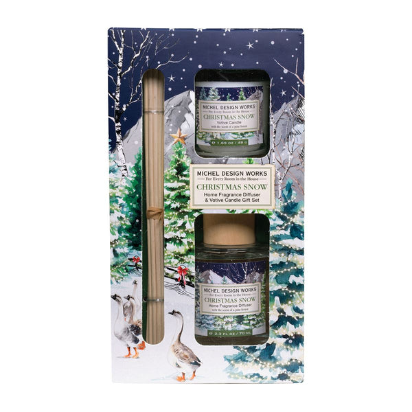 Christmas Snow Diffuser and Votive Candle Set