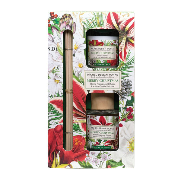 Merry Christmas Diffuser and Votive Candle Set