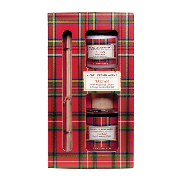 Tartan Diffuser and Votive Candle Set