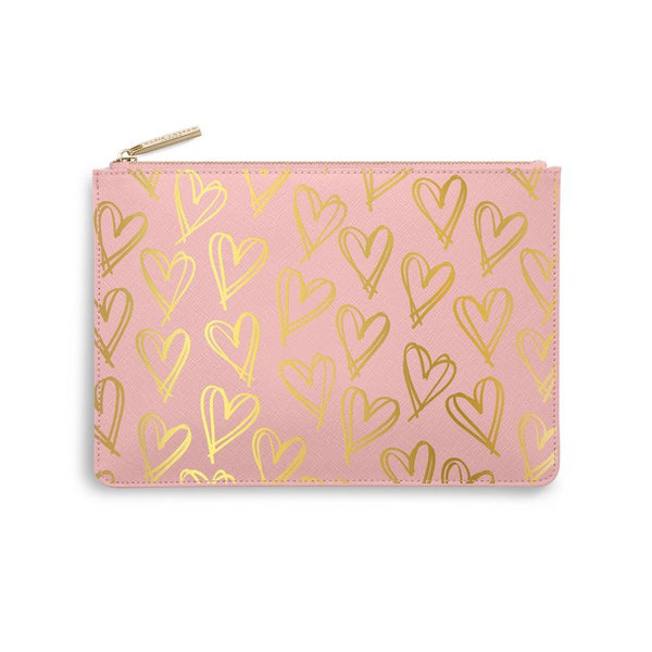 Perfect Pouch | Heart Print | Pink