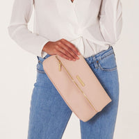 Alise Soft Pebble Fold Over Clutch | Blush Pink
