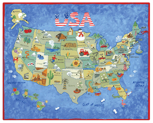 Magic Slice Gourmet Cutting Board - USA Map