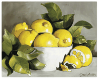 Magic Slice Gourmet Cutting Board - Lemons in a White Bowl