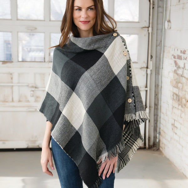 Fashion Apparel - Gray/Black Plaid Reversible Button Poncho