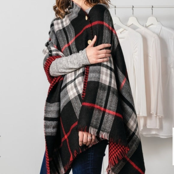 Fashion Apparel - Black/Red Plaid Reversible Button Poncho