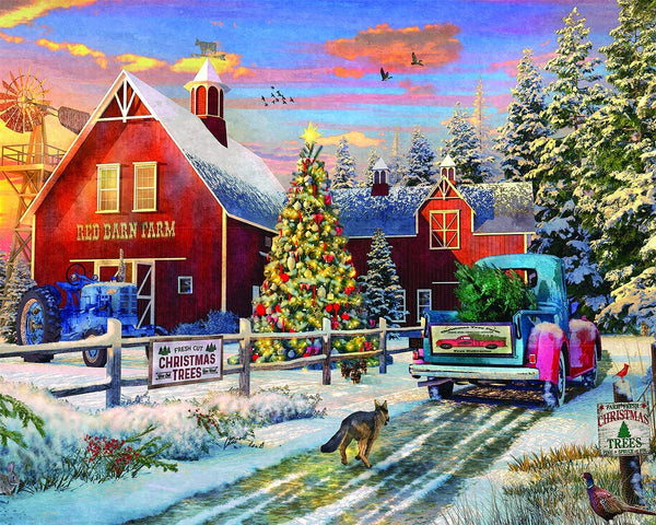 Red Barn Tree Farm 1000 Piece Puzzle