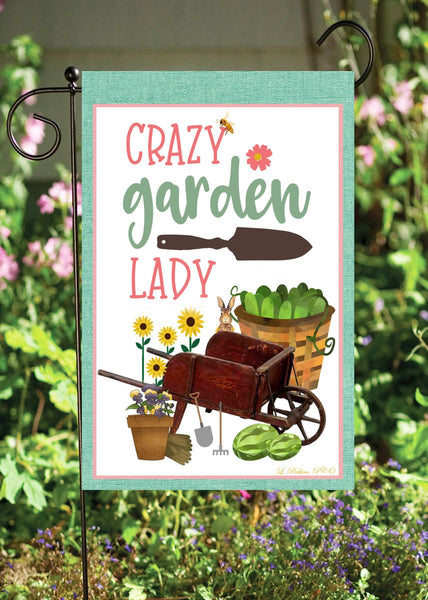 Crazy Garden Lady Garden Flag