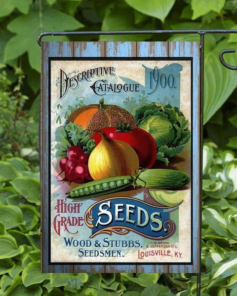 Descriptive 1900 Seed Catalog Garden Flag