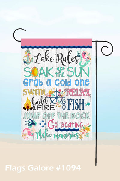Lake Rules Garden Flag