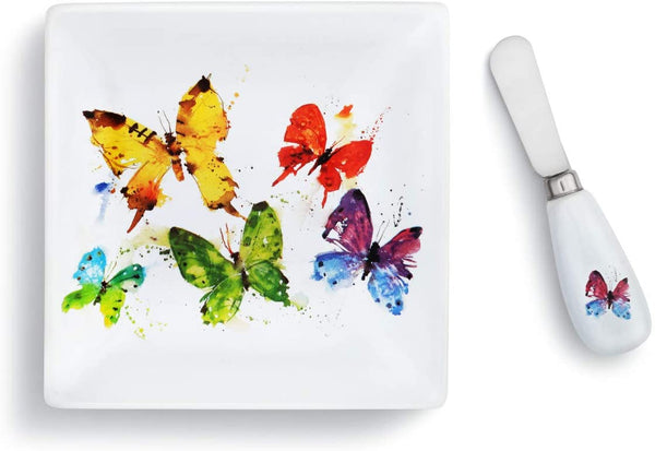 Flock of Butterflies Plate with Spreader Set