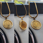 Rotatable Gold Pendant Necklace
