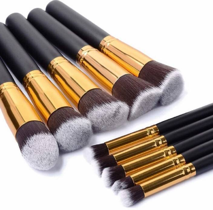 Pappilio Premium Synthetic Kabuki Makeup Brush Set  (Pack of 10)