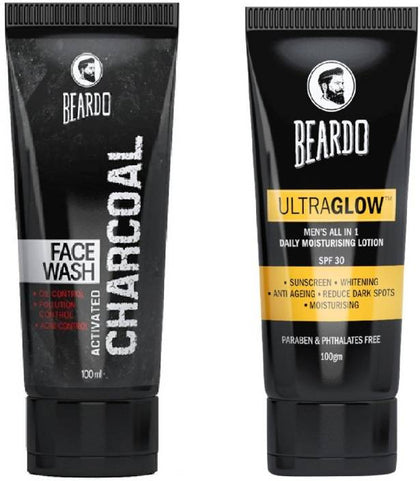 Beardo Activated Charcoal Face Wash and Ultraglow Face Lotion for Men  (2 Items in the set)