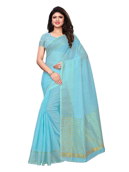 Flaray Women's Cotton Silk Gold stripes Kota Doria Saree - iZiffy.com