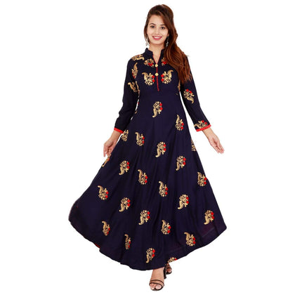 Flaray Rayon Fabric Long Zari-Embroidery Kurti - iZiffy.com